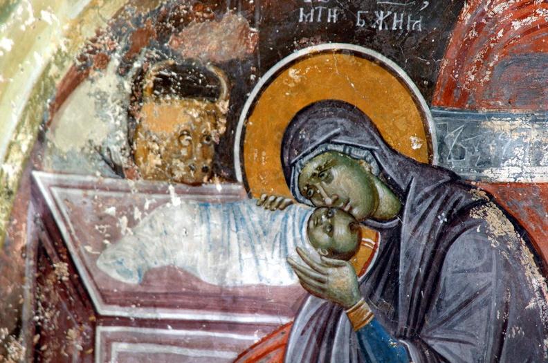 Рождество Христово. Фреска. Церковь Иоакима и Анны. Студеница. Сербия. XIV век.